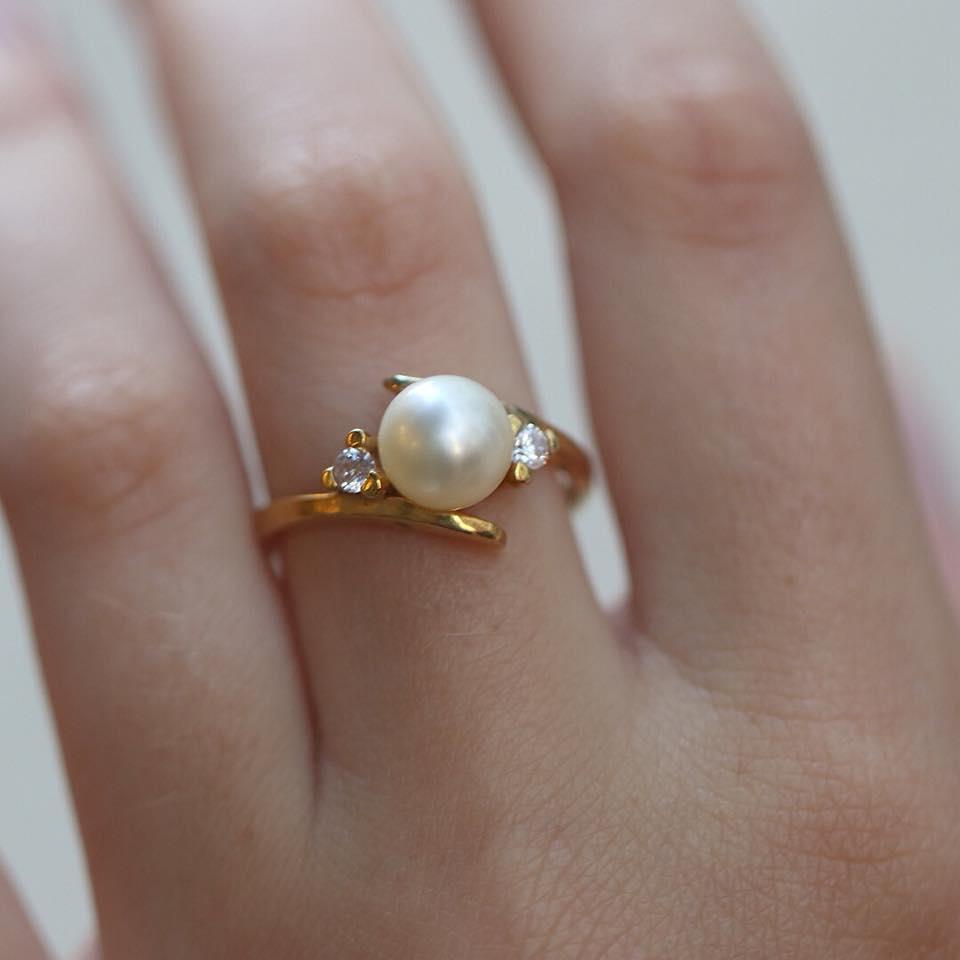 Χρυσό Δαχτυλίδι 14Κ με Φυσικό Μαργαριτάρι  be5383cd52c